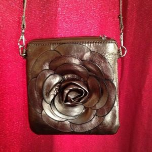 Handbags - CROSS BODY OR SHOULDER BAG-GOLD FLOWER